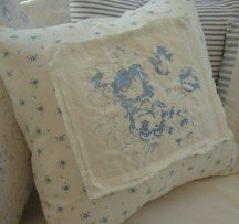 "CoTTaGe WhiTe with BLuE FLoWers and CabbaGe Rose ShaBBy ChiC 16"" PiLLoW. $37.00, via Etsy."