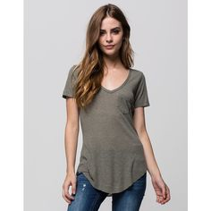 Full Tilt Womens Ribbed Pocket Tee ($15) ❤ liked on Polyvore featuring tops, t-shirts, olive, deep v neck tee, army green t shirt, pocket t shirts, ribbed tee and short sleeve pocket tee
