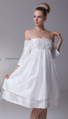 eb3ef770f Strapless Short White Floral Beading Taffeta Bridal Dress with Sleeves  Mejores Vestidos De Novia