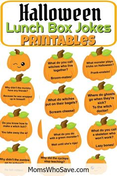 Free Lunch Box Jokes Printables 🎃 2 pages of freebies! Halloween Riddles, Halloween Themes, Best Halloween Jokes, Halloween Sayings, Halloween Snacks, Halloween Stuff, Halloween Crafts, Halloween Party, Holidays Halloween