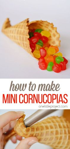 These mini cornucopias are so cute and  are such a fun way to decorate for fall! With only a waffle cone and some candy, you can make your own in no time! Such an easy and delicious treat for Thanksgiving! Thanksgiving Crafts, Thanksgiving Table, Sugar Cones, Waffle Cones, Snack Recipes, Snacks, Fall Treats, Special Needs Kids, Pumpkins