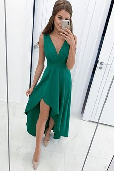 A-Line Green Homecoming Dress , Charming Homecoming Dress – Simplepromdress Homecoming Dresses High Low, Hi Low Dresses, Prom Dresses, Emerald Green Bridesmaid Dresses, Emerald Dresses, Dresses For Big Bust, Dress For You, Dresser, Outfits