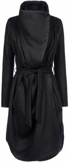 Ann Demeulemeester Coat asymmetrical wrap black coat #minimalist #fashion #style