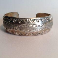 Navajo Sterling Silver Cuff Bracelet Signed Emerson Lee