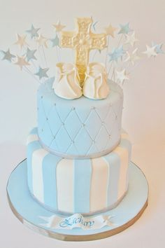 Christening and Baptism Cakes New Jersey - Booties and Cross Custom Cakes Baby Christening Cakes, Baby Boy Cakes, Cakes For Boys, Baby Shower Cakes, Baptism Cakes, Baptism Party, Baptism Favors, Boy Baptism, Baptism Ideas