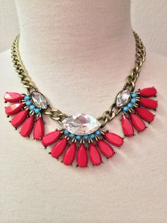 Red/ Turquoise Statement Necklace by BellaHarperBoutique on Etsy