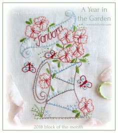 "Free Block of the Month for 2018 - ""A Year in the Garden"". First block is shared January 1st.  Repin for your stitching friends!"