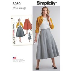 Simplicity Pattern 8250 Misses vintage skirt and bolero features four gored flared skirt with option of large patch pockets or shaped waistband and top-stitching trim. Bolero with option to add lining has retro cuffed kimono sleeves. New and Unused. Vintage Outfits, Vintage 1950s Dresses, Retro Outfits, Vintage Skirt, Retro Mode, Vintage Mode, Vintage Style, Vintage Pink, Simplicity Sewing Patterns