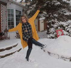 Today I decided to stop complaining and start playing. Snow time in Mustard and Old Navy Plaid. Sounds like a solid idea don't you think. Mustard Cardigan, Pixie Pants, Cable Knit Cardigan, A Day In Life, Daily Pictures, Plaid Dress, Fashion Over 50, White Denim, Shoe Dazzle