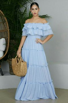 Off The Shoulder Baby Blue Dress Beautiful Maxi Dresses, Sexy Dresses, Blue Heels Outfit, Baby Blue Dresses, Baby Blue Lace Dress, Mode Chic, Casual Summer Dresses, Cute Skirts, Dress To Impress