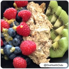 Homemade Protein Oatmeal is a quick and easy breakfast option or pre-workout snack.  The slow digesting carbs will offer long lasting energy when eaten before a workout.  To make the oatmeal (prepare the night before and leave in the fridge overnight): ½ cup organic oats ½ cup unsweetened almond milk 2 tbsp natural peanut butter 1 tbsp chia seeds 1 tbsp maple syrup 1 scoop vanilla whey protein powder  Combine with ½ -1 cup of your favorite fruit and sprinkle with 1tbsp walnuts