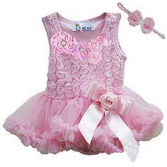 roze jurkje met roosjes + haarbandje