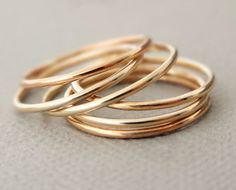 Super Thin Stackable Rings Rose Gold Ring or Yellow Gold Filled Ring - thumb ring - midi ring - above knuckle ring