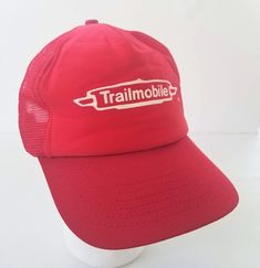 ae18df380b Items similar to Trailmobile Snapback Trucker Hat Red Logo Made in USA Pro  Fit Dry Van Semi Trailers Vintage Lake Forest Illinois on Etsy