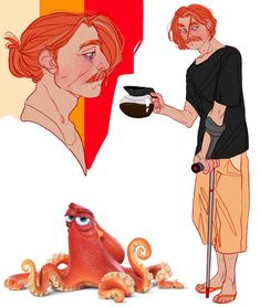 Ed O'Neill as Hank, a cranky East Pacific red octopus (Finding Dory) by CrazyTom Disney And Dreamworks, Disney Pixar, Disney Magic, Anime Vs Cartoon, Cartoon Art, Cartoon People, Disney Cartoons, Disney Movies, Disney Characters As Humans
