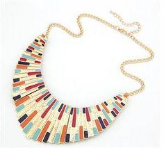 Show details for Fashion Multi Color Big Statement Bib Necklace