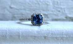 14K White Gold Pave Diamond and Sapphire Halo Ring - 1.26ct. // Gold Adore // Etsy