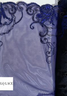 Navy Blue Lace Trim Blue Lace Fabric Embroidered Lace Trim By The Yard Flower Lace Trimming French Lace Lingerie Floral Lace Spitzenstoff