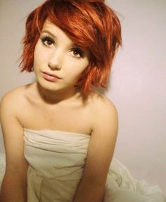 In love with the color and hairstyle. Rich warm copper and tousled hair