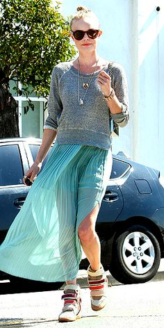 Kate Bosworth. Ethereal skirt paired with casual sweater and chunky sneaks. Great!