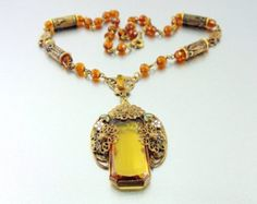 Holidays SALE, Vintage Art Deco Amber Glass & Filigree Czech Necklace with Enamel Flowers, Decorated Beads.. 10% OFF. Necklaces