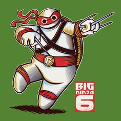 Big Ninja 6, the robotic turtle, fighting with all their enemies with your devastating karate