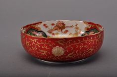 The bowl is of wide concave- shaped, the exterior of the bowl is decorate with many flower sprays. The interior is furthermore decorate with colorful pattern of flower spray. There is four Chinese characters on the base of the bowl (fuki choshun)