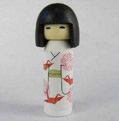 Iwako Kokeshi Japanese Doll in White Red Origami Kimono Pattern Eraser