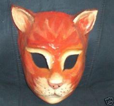 Vintage Halloween PAPER MACHE Orange CAT MASK.