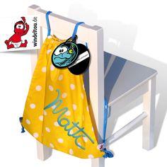 Personalisierbarer Turnbeutel mit SOS-Anhänger von windeltou.de Bags, Moth, Cinch Bag, Gymnastics, Handmade, Nice Asses