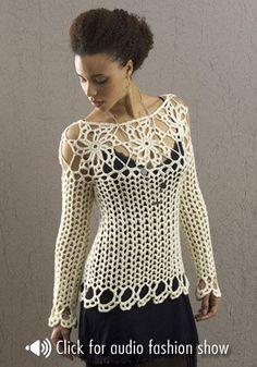 blusinha de crochê de manga longa