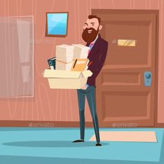 Business Man Hold Box With Office Stuff by prostockstudio Business Man Hold Box With Office Stuff Recruitment New Job Position Vacancy Flat Vector Illustration