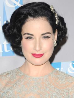It's a nice hairstyle for those with short hair if you don't mind spending the time to style it. #pinup #ditavonteese