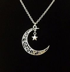 Moon And Star Pendant With Sterling Silver Chain Moon Necklace, Star Necklace, Silver Pendant Necklace, Silver Earrings, Silver Bracelets, Moon Jewelry, Sea Glass Jewelry, Cute Jewelry, Craft Jewelry