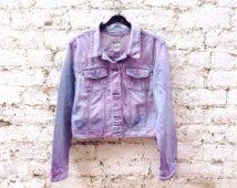 Größe 8 Spring Fashion Festival Kleidung Coachella Jacket Womens Pastel Pink gefärbt Grunge Jeansjacke locker UK Größe 12 oder uns