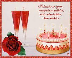 Urodziny i imieniny: Gify urodzinowe Happy Birthday, Birthday Cake, Birthday Candles, Place Cards, Place Card Holders, Desserts, Food, Flowers, Happy Brithday