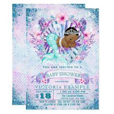 Ethnic Mermaid Baby Shower Invitations
