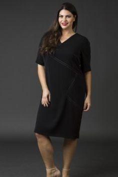 Shift Crepe Dress- Black