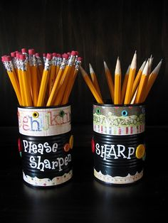 """Sharpen and Dull pencil buckets-- avoid interruptions and reward good behavior as the """"pencil sharpener person"""""""