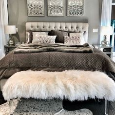 love with my grey master bedroom aesthetic! The tufted headboard and grey + white shams make for a chic bed set up. The white faux fur bench is from Parker & Hyde in Dallas. More details to the chic bedroom design coming soon! Glam Bedroom, Home Decor Bedroom, Modern Bedroom, Chic Bedroom Ideas, Trendy Bedroom, Bedroom Colors, Classy Bedroom Decor, Bedroom Plants, Diy Bedroom