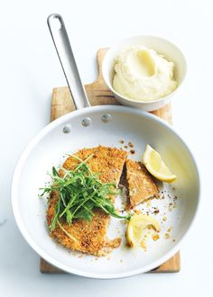 quinoa-crumbed schnitzels with prosciutto and sage.