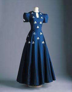 A beautiful dark blue House of Lanvin French Silk Evening Dress, 1938.