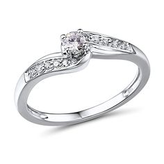 Diamond Engagement Ring in Rhodium Plated 10k White Gold (.14 cttw, HI, I2-I3)