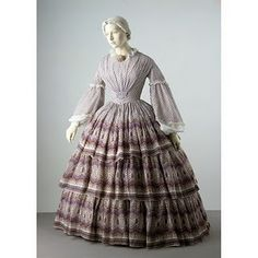 """Late 1850's """"sheer"""" dress - I remember seeing this in the first lady's exhibit in the Smithsonian in the mid 1980's."""