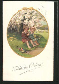 carte postale ancienne: CPA Illustrateur Pauli Ebner: Fröhliche Ostern! ein Hirte spielt Flöte für seine Angebetete