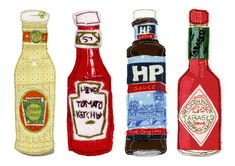 Condiments, Kate Talbot, Appliqué, Fabric, Hand and Machine Embroidery.