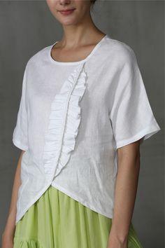 French Linen Top Blouse in Gray/White, Earth Day Top, Linen Shirt, Linen Blouse Mens Clothing Uk, Casual Tops For Women, Short Tops, Linen Dresses, Blouse Designs, Tunic Tops, Clothes For Women, Shirts, Linen Tunic