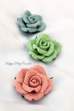 Crochet Rose Applique Pattern, Hybrid Tea Rose by Happy Patty Crochet // Make your own beautiful decor flowers for your office or living room table, or attach a clasp for stunning brooches and bag appliques This Rose is versatile and would work wonderfully in many projects!