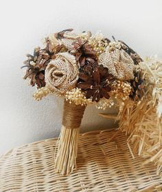 Rustic Pinecone Burlap & Wheat Bouquet Rustic by PapernLace
