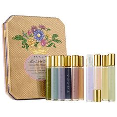 This would make a cute gift. Sephora set of 10 sprays in cute tin box. $62.